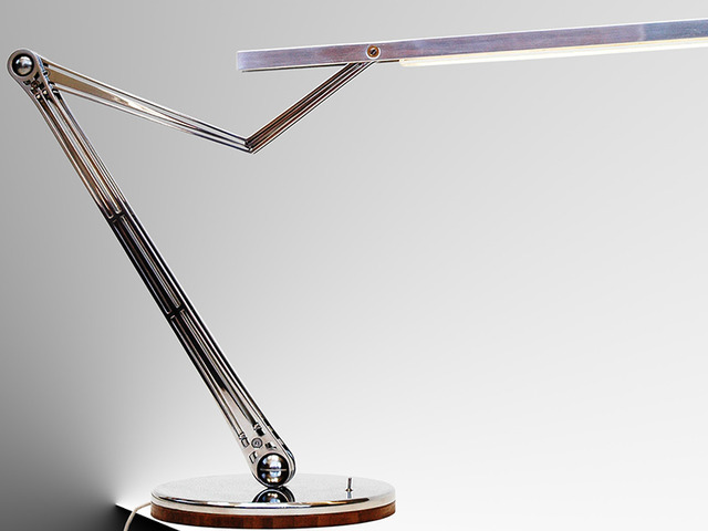 Kranich Lampe by B Compact - Desk Lamp, Stainless Steel, Bamboo, Angelpoise Type Lamp, Mirror Polished, Designer Desk Lamp, LED, Laser Cut, 2700 Kelvin, Bcompact