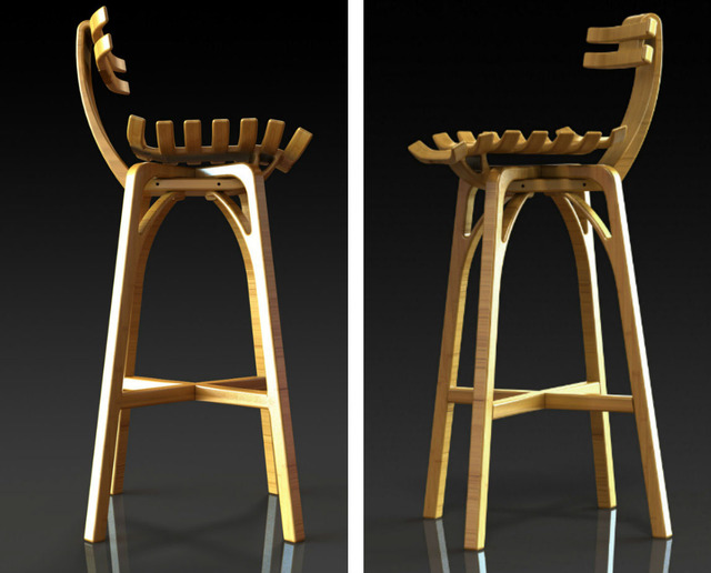 Skeletal Bamboo Stool by B Compact - Stool, Bamboo, Sustainable Design, Interior Design, Bar Stool, Breakfast Bar, Flexible, Sculptural, Unique Design, Bespoke