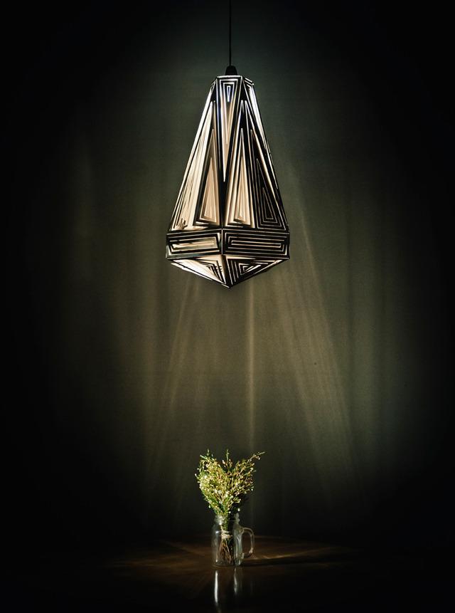 DecoDrop Facet Pendant by B Compact - Stainless Steel, Pendant, Lighting Decor, Lamp, Twist Facets, Tear Drop Shape, Sustainable Design, Bespoke, Unique Lighting
