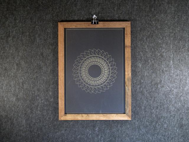 Geometric Pattern Print 1 by Pierre Greenway - Bespoke, Handmade, Wood, Frame, Geometric, Pattern, Laser Cutter, Print, Jarrah, Western Australia