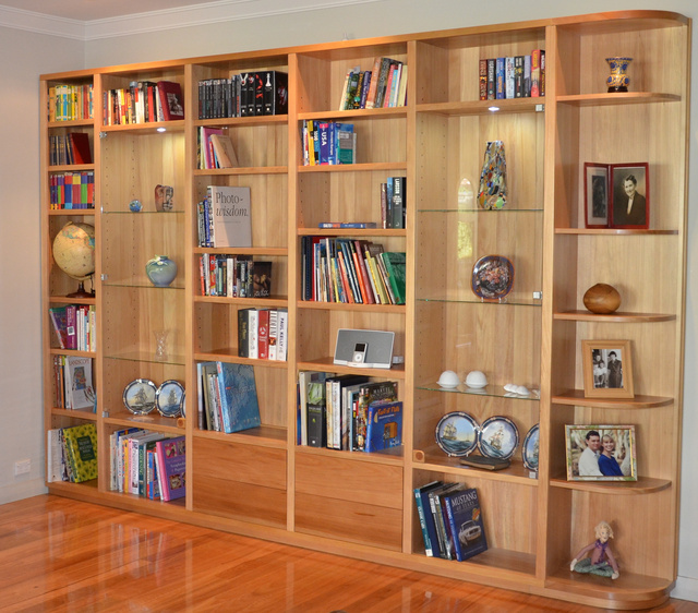 Bookcase in Agathis by David Howlett - Bookcase, Bookshelves, Shelving