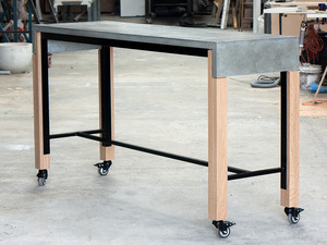 Mobile Breakfast Bar by Relm Furniture - Concrete, Oak, Custom, Steel