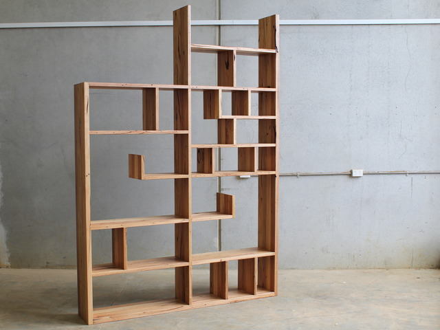 The Labyrinth Book shelf  by CHRISTOPHER BLANK - Design, Bookshelf, Recycled Hardwood, Custom, Cantilevers, Christopher Blank