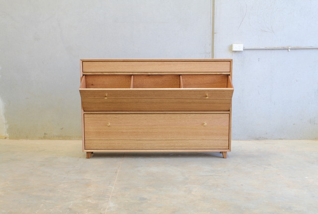 Mr Shoey Shoe cabinet by CHRISTOPHER BLANK - Design, Custom, Shoe Cabinet, Tasmanian Oak, Christopher Blank, Brass Handles
