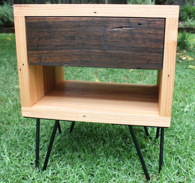 The Giles Bedside Table by Woodspoke - Bedside Table, Recycled, Messmate, Drawer