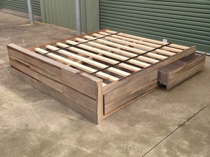 Recycled Hardwood King Bed by Zac Pearton - Bed, Recycled