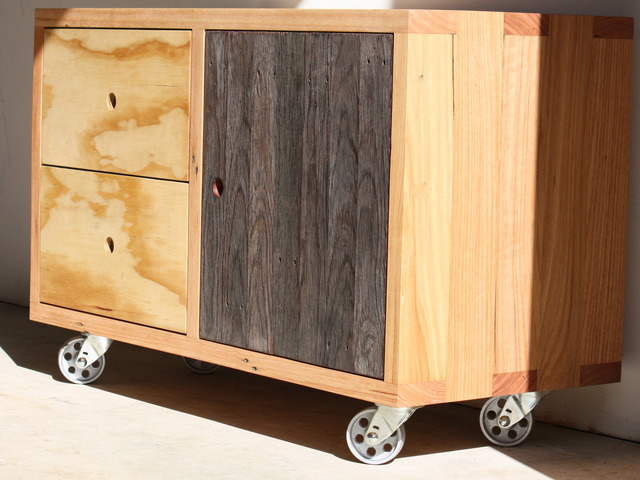 The Milton Sideboard by Woodspoke - Sideboard, Cabinet, Recycled, Ply, Messmate, Decking, Castors