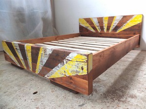Patterned timber bed by Tim Denshire-Key - Bed, Recycled Timber, Oregon, Bedroom, Pattern, Custom, Apartment Furniture, Rustic, Industrial