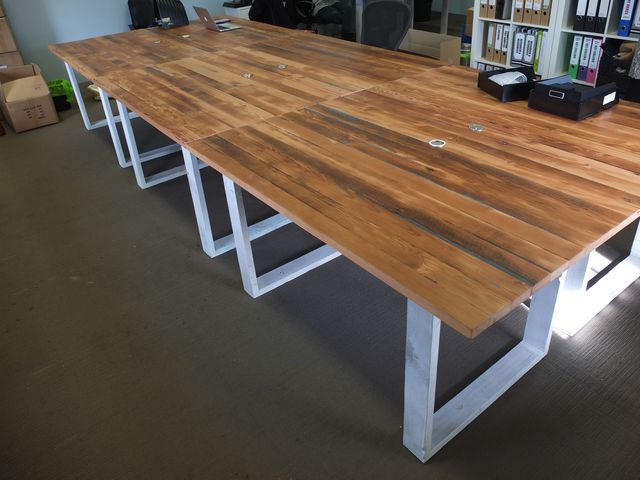 Study desk by Tim Denshire-Key - Office Table, Recycled Timber, Oregon, Desk, Office Desk, Office Furniture