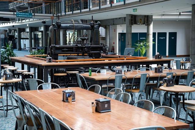 Locomotive tables by Telegraph Road - Locomotive Works, Australian Technology Park, Stringy Bark, Mild Steel