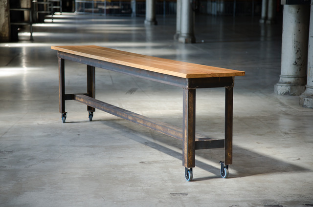 Locomotive tables by Telegraph Road - Locomotive Works, Australian Technology Park, Stringy Bark, Mild Steel