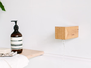 Tigre timber spout by Oliver Maclatchy - Bath Spout, Spout, Outlet, Faucet, Timber, Reclaimed Timber, Bathroom, Bath