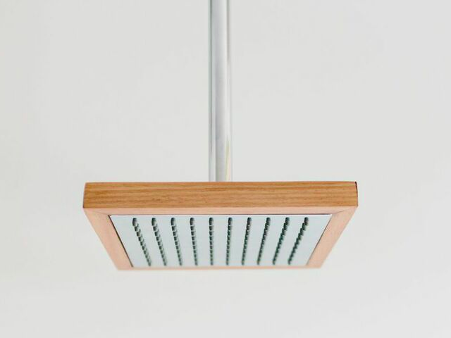 Otis timber and chrome shower head by Oliver Maclatchy - Shower, Shower Head, Timber, Chrome, Bathroom