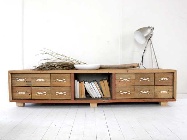 HIDEAWAY ENTERTAINMENT UNIT by BEECH STREET - HIDEAWAY, ENTERTAINMENTUNIT, CREDENZA, RECLAIMED, HARDWOOD, RAFTER, BEAMS, ROPE, BEECHSTREET, BESPOKE