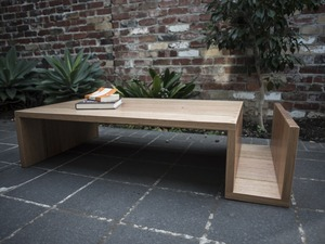 S-bend Coffee Table.  by Patrick Holcombe - Tasmanian Oak, Hardwood, Tassie Oak, Oak, Coffee Table, Desk, Timber, Table, Joinery, Shelf