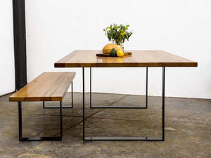 'Steel Square' Table by GLENCROSS FURNITURE - Dining Table, Table, Bench Seat, Recycled Timber, Modern Design, Australian Timber, Custom Made, Melbourne