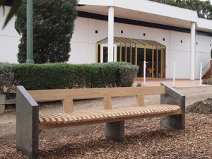 Memorial garden bench by Eco wood design - Contemporary, Unusual, Australian Timber, Blackbutt, Concrete