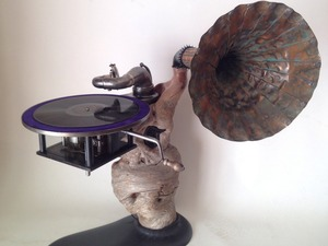 I WENT TO A PLACE WHERE INSANITY BLEW MY MIND by Michael Hoffman - Bull Oak, Brass, Ebonised, Weathered, Vintage, Gramophone