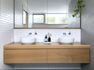 Bathroom Vanity by Raw Edge Furniture - American Oak, Danish Design, Scandanavian, Mid Century, Benchseat, Bench Seat, Turned Legs, Wood Turning, Wood Turned, Oak