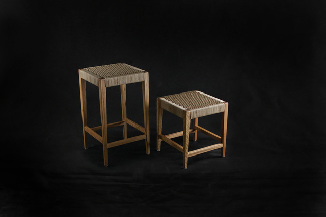 Blackbutt & Danish Cord Stools by makimaki Furniture Works - Danish, Cord, Woven, Stool, Bar Stool, Low Stool, Blackbutt, Timber, Makimaki, Brisbane