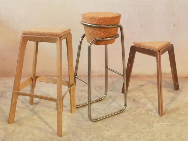 The Cork Connection stools series by Asher Abergel - The Cork Connection, Asher Abergel Design, Dezion Studio, Cork Stools, Plywood Stools, Bent Plywood Stool, Hand Made Stools, Made In Sydney, Hand Made Funiture