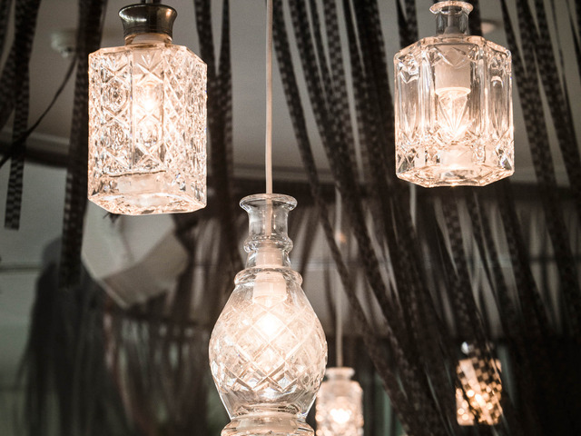 Vintage Decanter Lights and crystal droppers by G&V - Vintage, Crystal, Glass, Lights