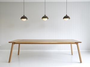 Rectangular Splayed Leg Dining Table by Tescher Forge - Dining Table, Oak, Modern Design, Metal Detailing