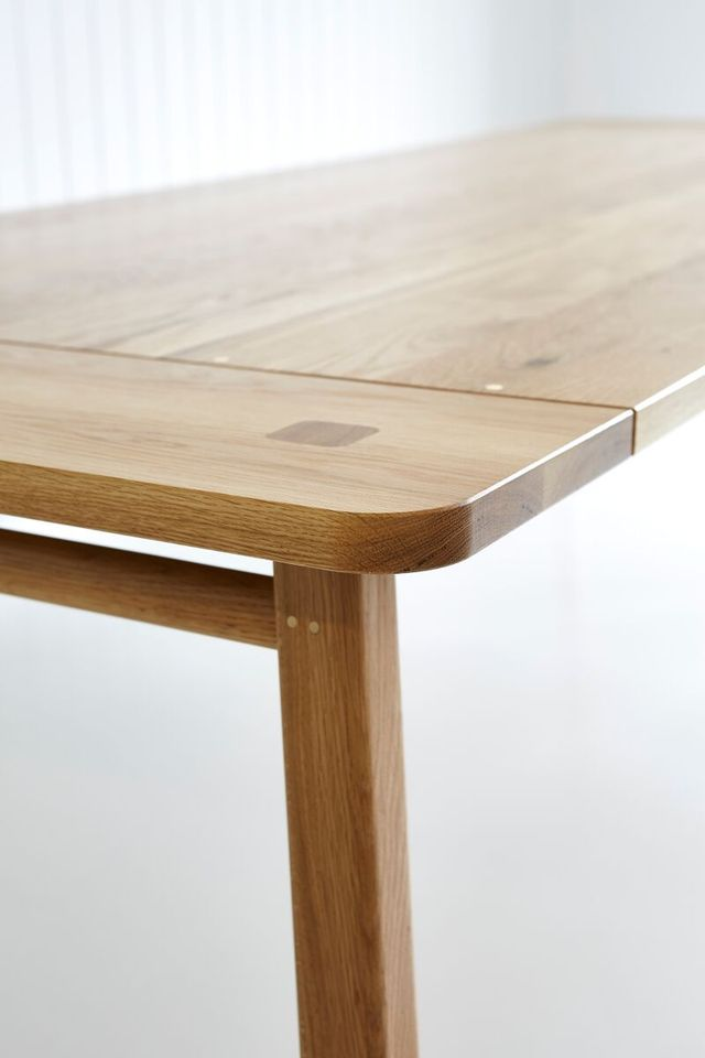 Rectangular Splayed Leg Dining Table by Tescher Forge - Dining Table, Oak, Modern Design, Metal Detailing