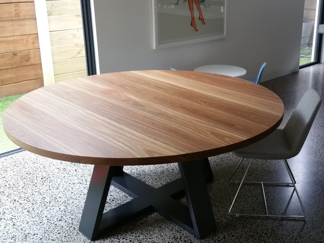 Round Dining Table by Tescher Forge - Dining Table, Spotted Gum, Round Table
