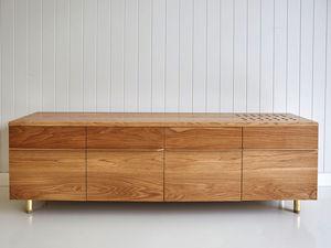Hallway Seat/ Shoe Cabinet by Tescher Forge - Hallway Cabinet, Oak, Brass