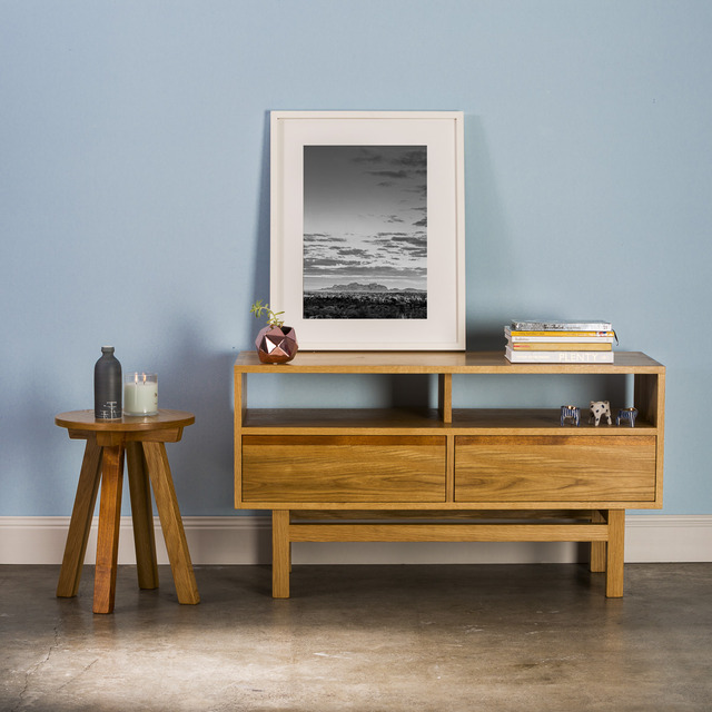 The 'Oak-B' Side Table by GLENCROSS FURNITURE - Side Table, American Oak, Blackwood, Stool, Bedside, Living Room, Kitchen, Melbourne