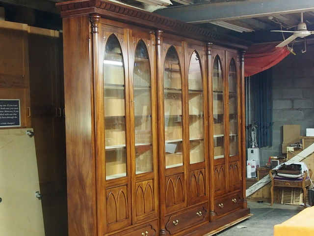 A stunning Gothic styled bookcase, hand made in honduras mahogany by Andrew Alstin - Gothic Furniture, Reproduction Bookcases, Solid Timber Bookcases, Bespoke Bookcases, Custom Bookcases Sydney, Custom Bookcases Melbourne, Reproduction Bookcases Melbourne, Reproduction Furniture Sydney, Handmade Bookcases Melbourne