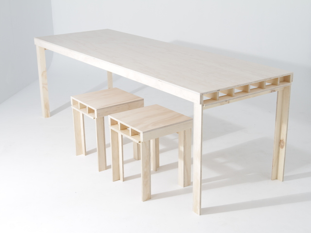Plyangle Furniture by Like Butter - Plywood, Stool, Table, Offcuts, Recycled