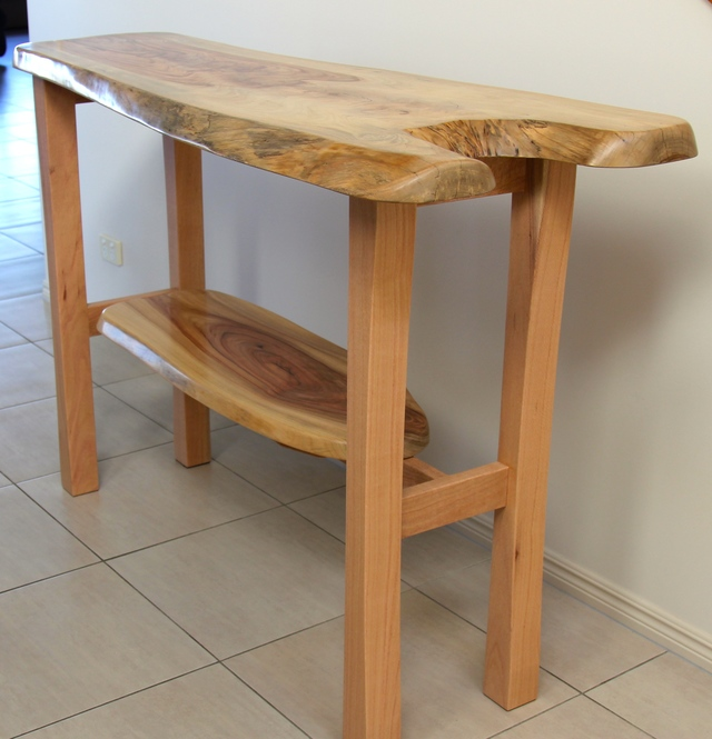 Natural Edge Hall Table - Solid Camphor and Silky Oak Timber by Rick Fabri - Natural Edge Table