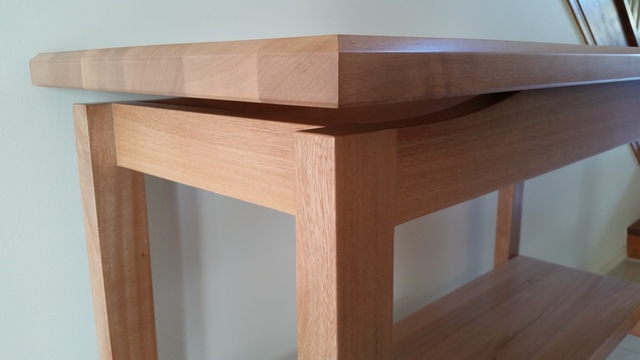 Floating Top Hall Table – Solid Satin Sycamore Timber  by Rick Fabri - Solid Timber Table