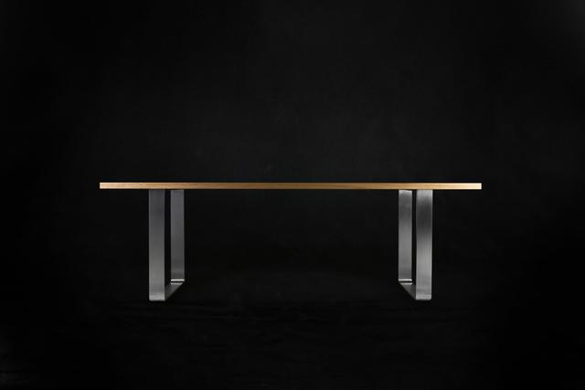 Rolled Hoop Table by makimaki Furniture Works - Hoop Legs, Stainless Steel, Blackbutt, Blonde, Metal, Steel