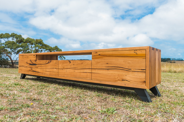 Zeally Bay TV Unit by Bombora Custom Furniture - Matte Black Metal, Recycled Messmate, Black And Timber, Bespoke Tv Unit, Bespoke Tv Cabinet, Industrial Tv Unit, Custom Furniture Melbourne, Custom Tv Cabinet, Tv Unit, Tv Cabinet