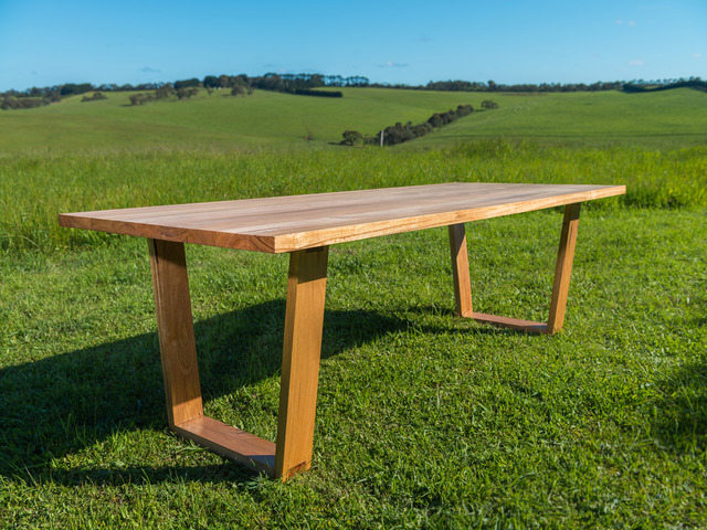 jan juc dining table by bombora custom furniture recycled messmate angled  legs recycled