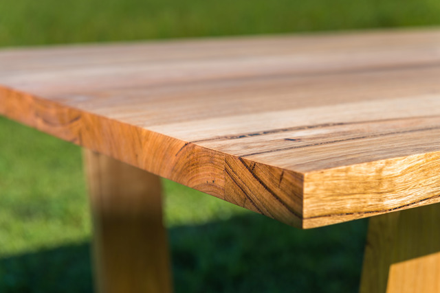 Jan Juc Dining Table by Bombora Custom Furniture - Recycled Messmate, Angled Legs, Recycled Timber, Surf Coast, Custom Furniture, Modern Dining Table, Box Legs, Torquay, Melbourne