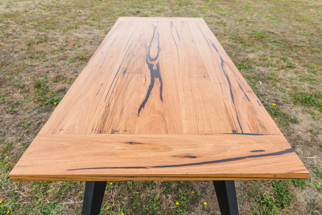 Zeally Bay Dining Table by Bombora Custom Furniture - American Oak, Messmate, Recycled Timber, Dining Table, Tapered Legs, Made To Order, Featured Timber, Melbourne Dining Tables, Black Leg Table, Modern Dining Table