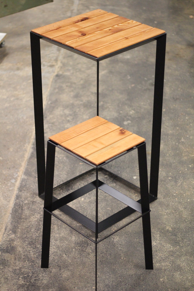 45 stool by Sebastian Kopiec - Steel, Timber