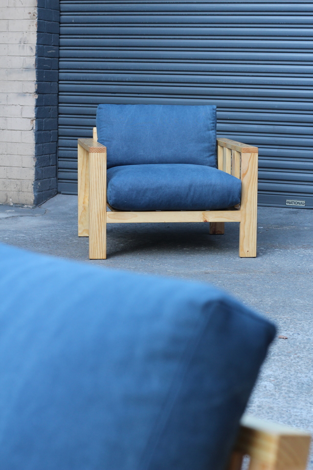 chillaah chair by Sebastian Kopiec - Timber, Denim, Lounge, Chair