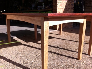 Red Gum Table with Yellow Box legs and Vic Ash rails by Andrew Blake - Dining Table, Red Gum
