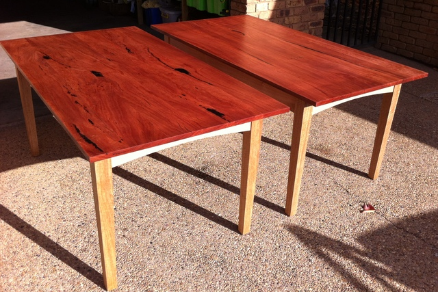 Red Gum Table with Yellow Box legs and Vic Ash rails by Andrew Blake