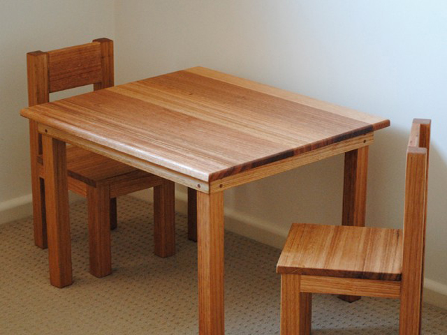 Children's Hardwood Table and Chairs by Poole's Design - Solid Hardwood, Tasmanian Oak, Sustainable, Non- Toxic, Fine Furniture, Hand Made, Children'S Furniture