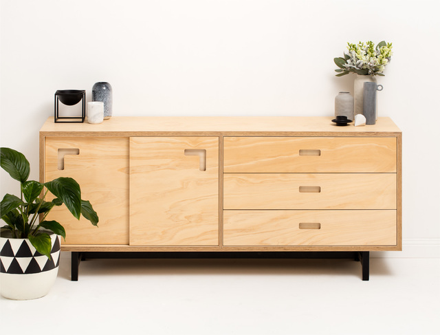 Brox Sideboard by Felix Furniture - Plywood, Plywoodfurniture, Sideboard, Buffet, Scandinavian, Drawers, Metal Frame, Contemporary, Minimal, Industrial