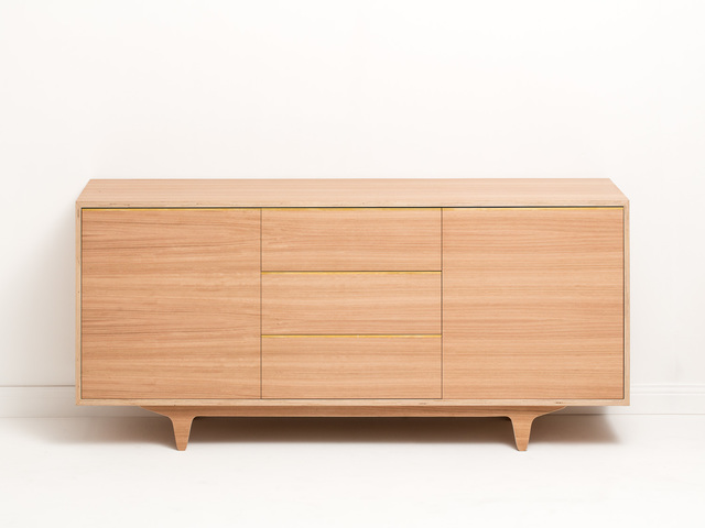 Flynn Sideboard by Felix Furniture - Plywood, Sideboard, Buffet, Console, Dresser, Brass, Blackbutt, Veneer