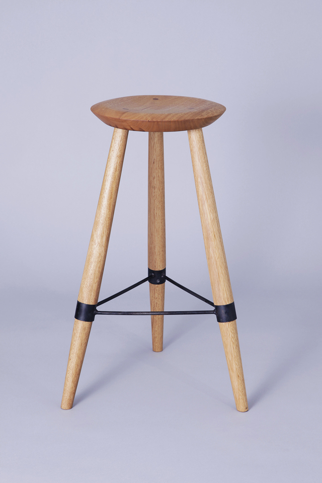 Tallowwood stool with black steel bracing by Jonathan West - Stool, Tallowwood