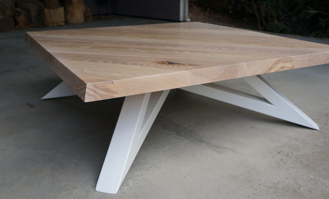 """EdgeGrain"" Coffee Table by POLYMATH - Coffee Table, Wood, Timber, Steel, Metal, Custom, American Ash"