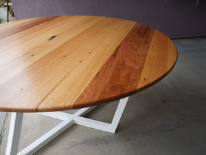 """Trapezoid"" Dining Table by POLYMATH - Round Table, Dining Table, Wood, Timber, Steel, Metal, Custom"